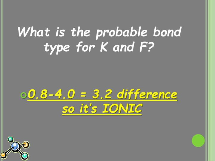 What is the probable bond type for K and F?