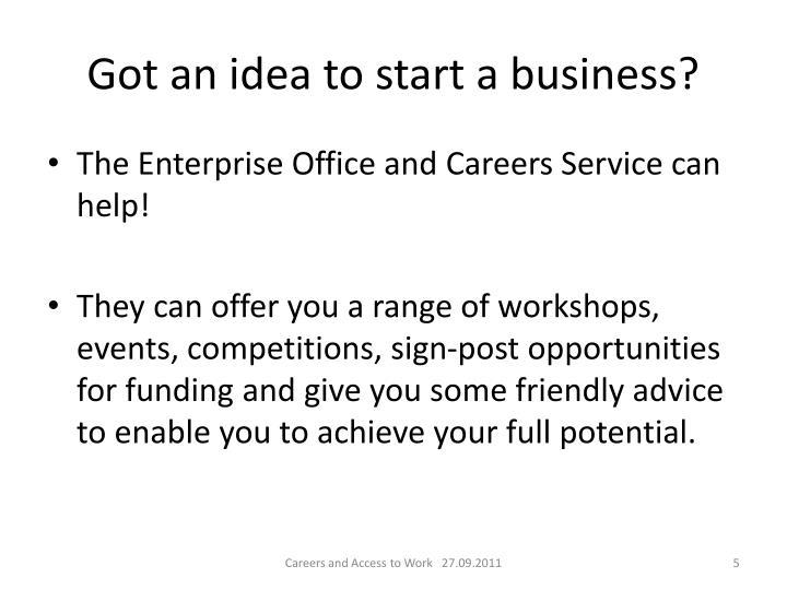 Got an idea to start a business?