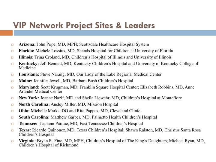 VIP Network Project Sites & Leaders