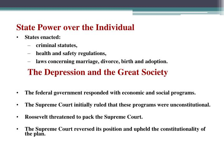 State Power over the Individual
