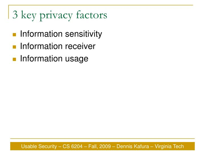 3 key privacy factors