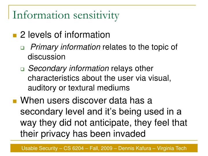 Information sensitivity