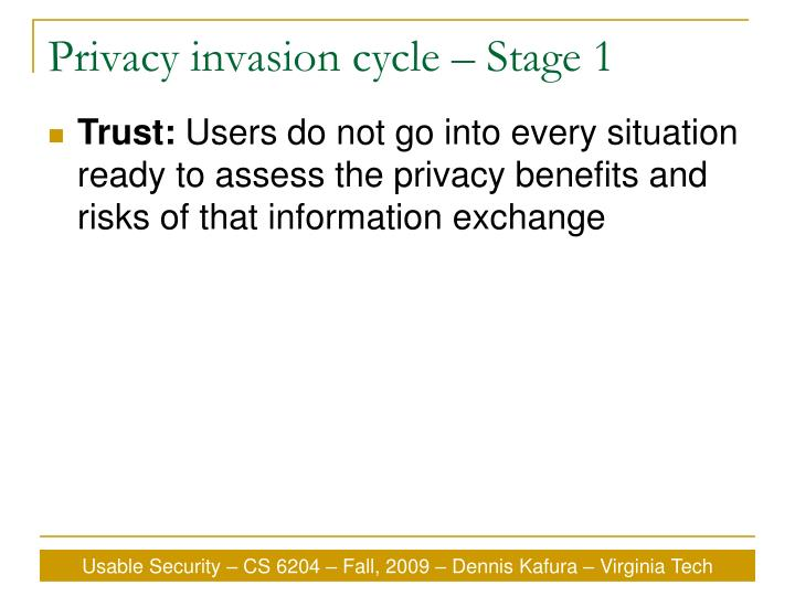 Privacy invasion cycle – Stage 1