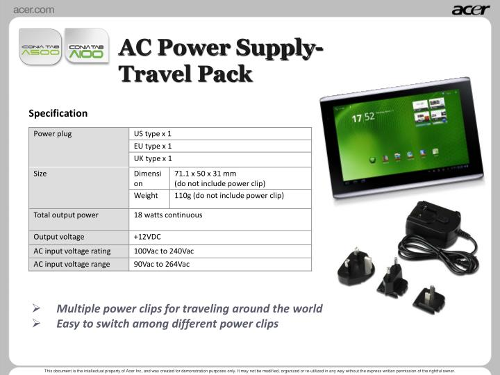 AC Power Supply-Travel Pack