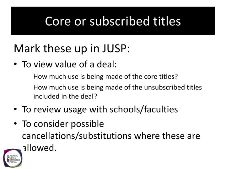 Core or subscribed titles