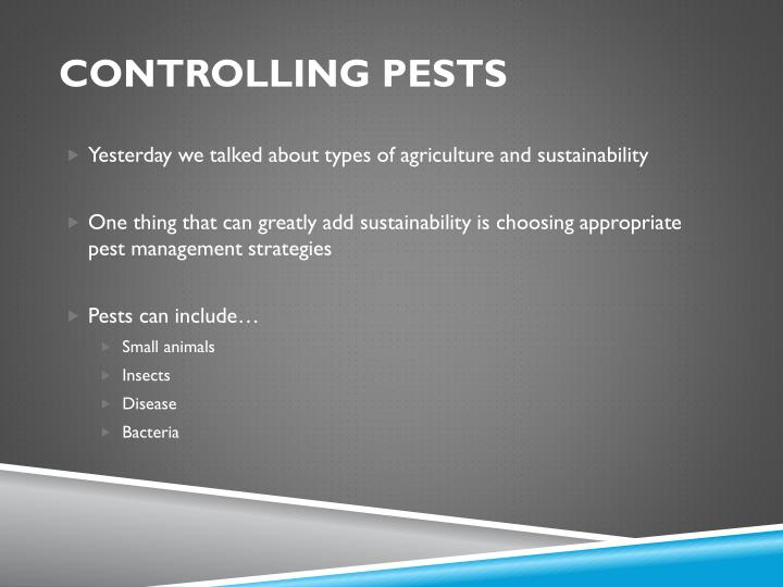 controlling pests n.