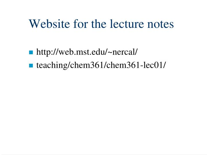 Website for the lecture notes