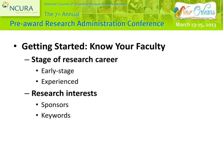 Getting Started: Know Your Faculty