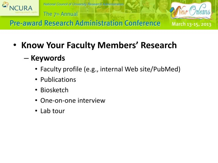 Know Your Faculty Members' Research