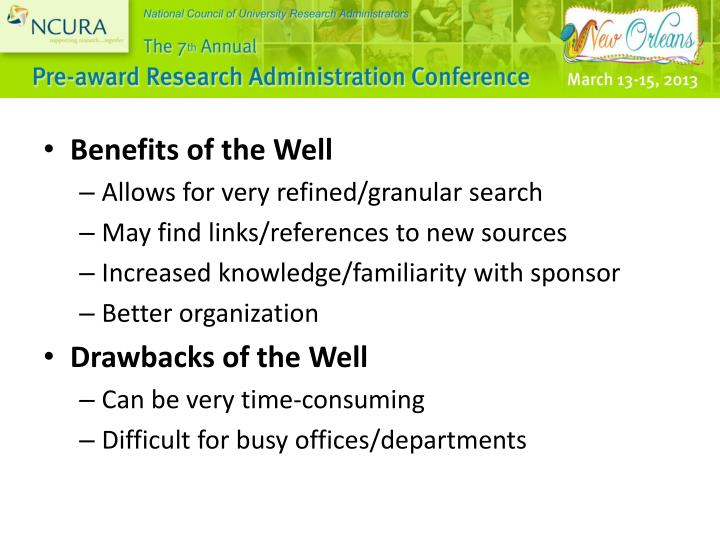 Benefits of the Well