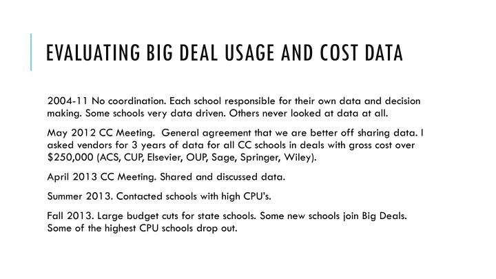 Evaluating Big Deal Usage and Cost Data