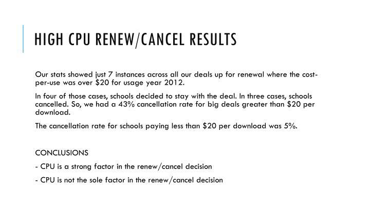 High CPU renew/cancel results
