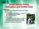 south africa s police corruption and control cont