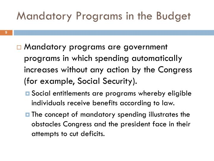 Mandatory Programs in the Budget