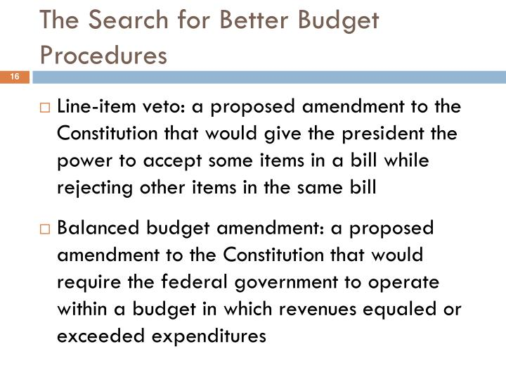 The Search for Better Budget Procedures