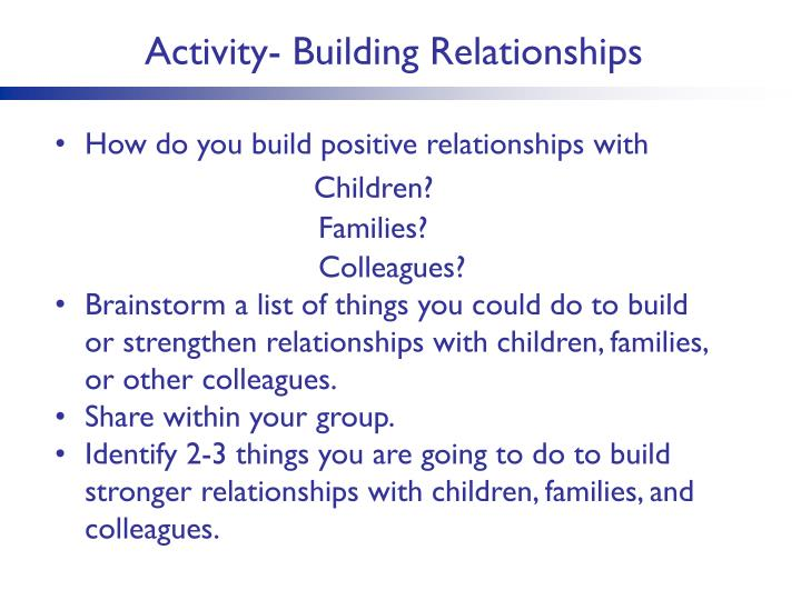 Activity- Building Relationships