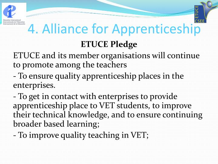 4. Alliance for Apprenticeship