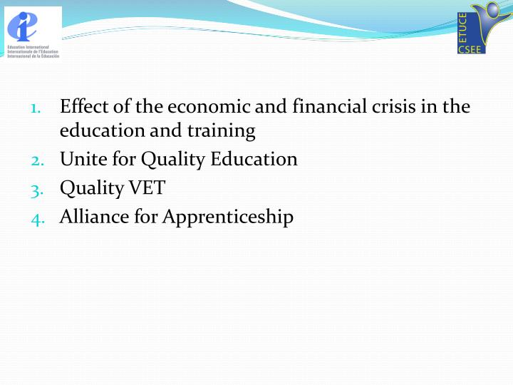 Effect of the economic and financial crisis in the education and training