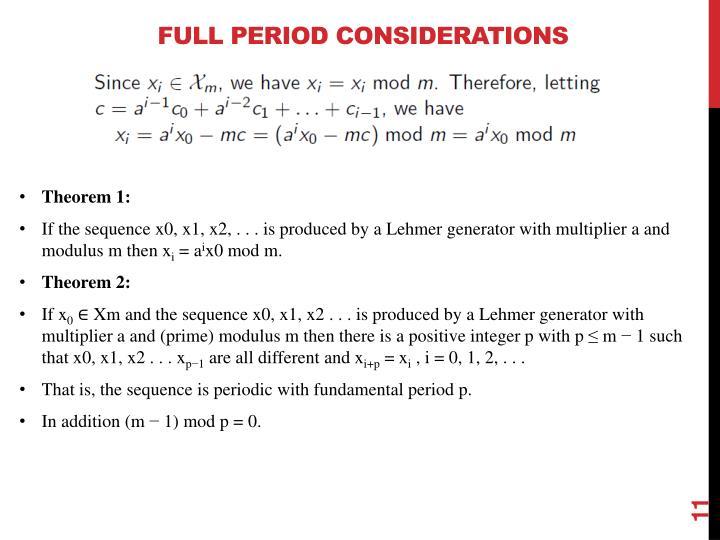 Full Period Considerations