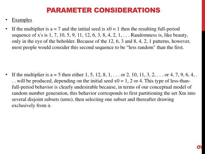Parameter Considerations