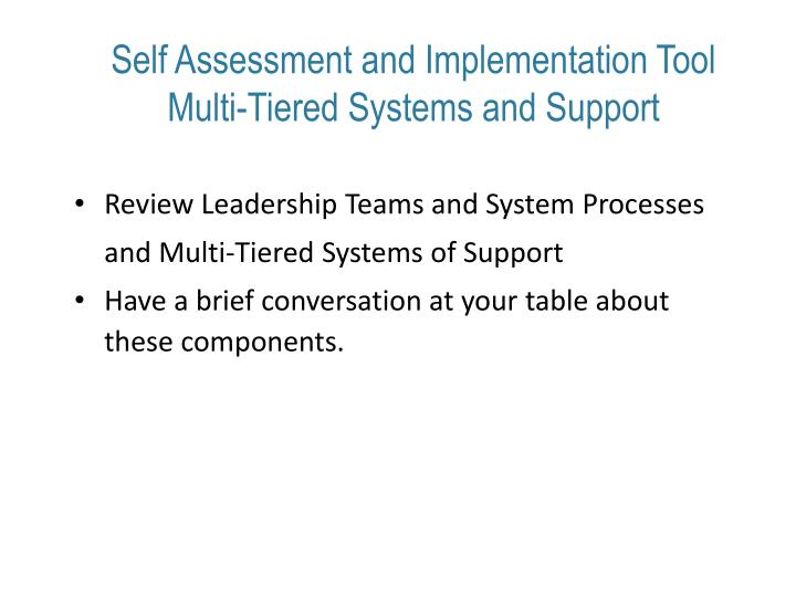 Self Assessment and Implementation Tool