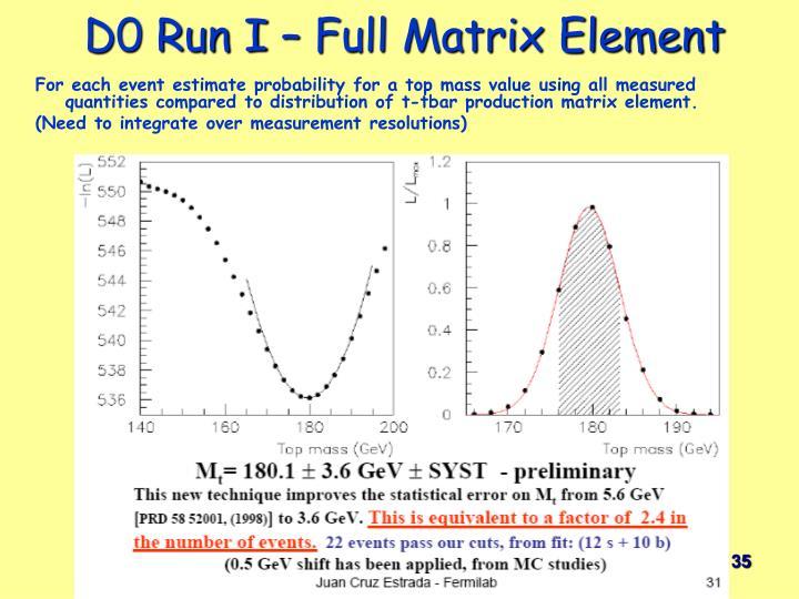 D0 Run I – Full Matrix Element