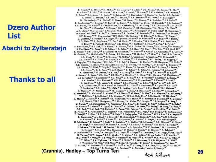 Dzero Author List