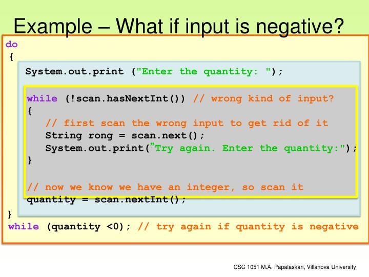 Example – What if input is negative?