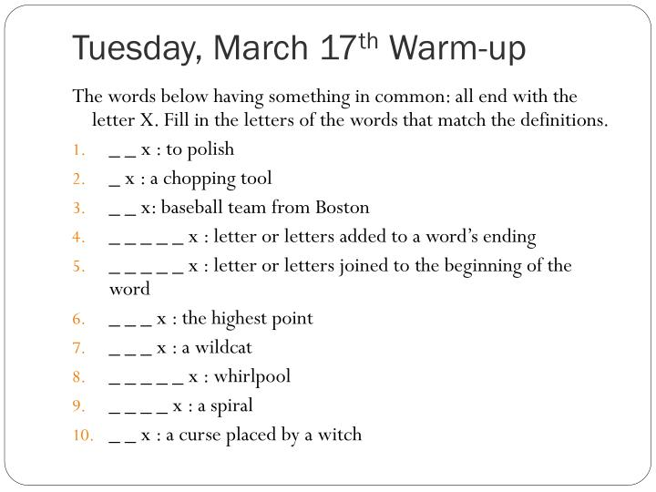 Tuesday march 17 th warm up