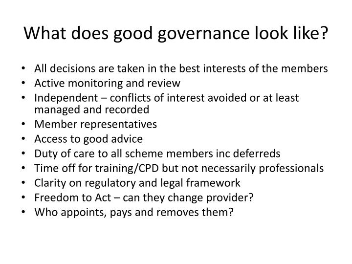 What does good governance look like?