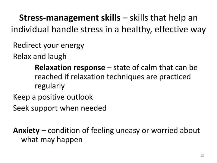 Stress-management skills