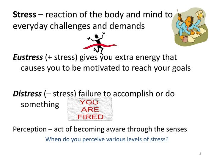 Stress reaction of the body and mind to everyday challenges and demands