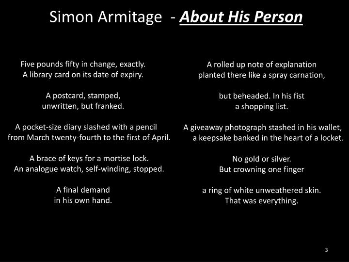 poem and about this person by simon armitage essay 'about his person' by simon armitage - fully resourced poetry lesson  of the  best guess mock for aqa english literature paper 2 2018.