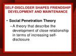 self discloser shapes friendship development and maintenance1