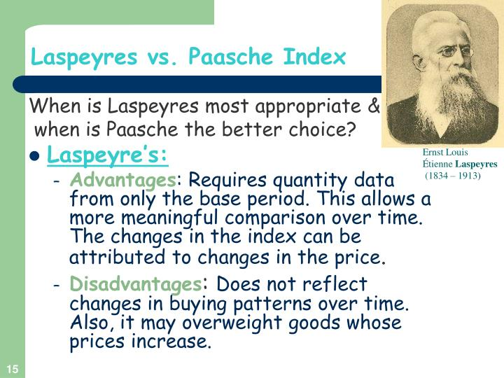 laspeyres and paasche price index advantages and disadvantages