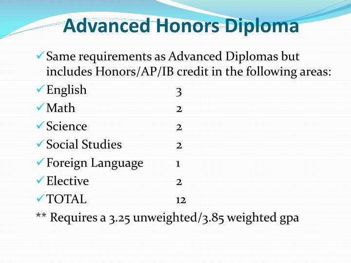 Advanced Honors Diploma