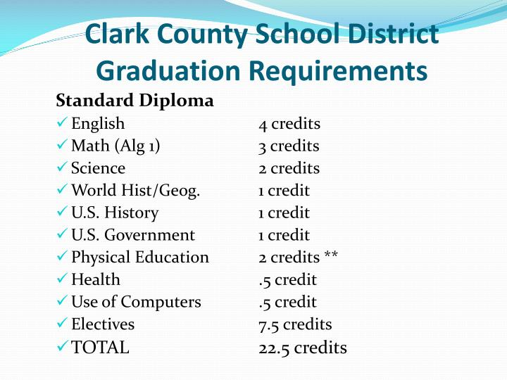Clark county school district graduation requirements