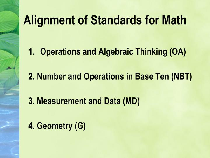Alignment of Standards for Math