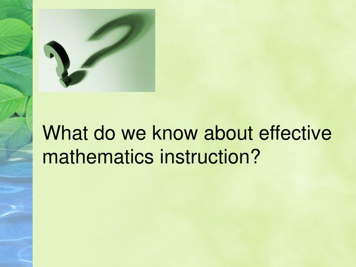 What do we know about effective
