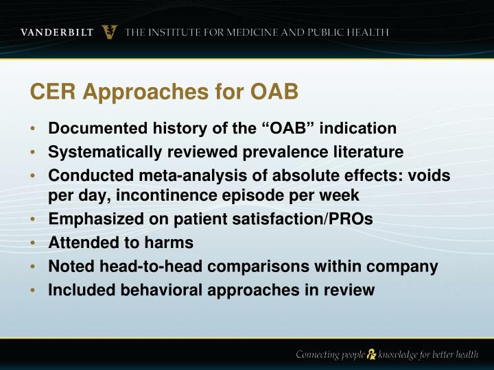 CER Approaches for OAB