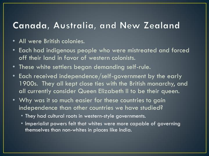 Canada, Australia, and New Zealand