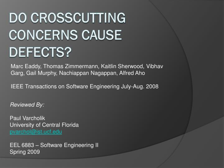 do crosscutting concerns cause defects n.