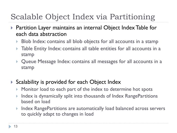 Scalable Object Index via Partitioning