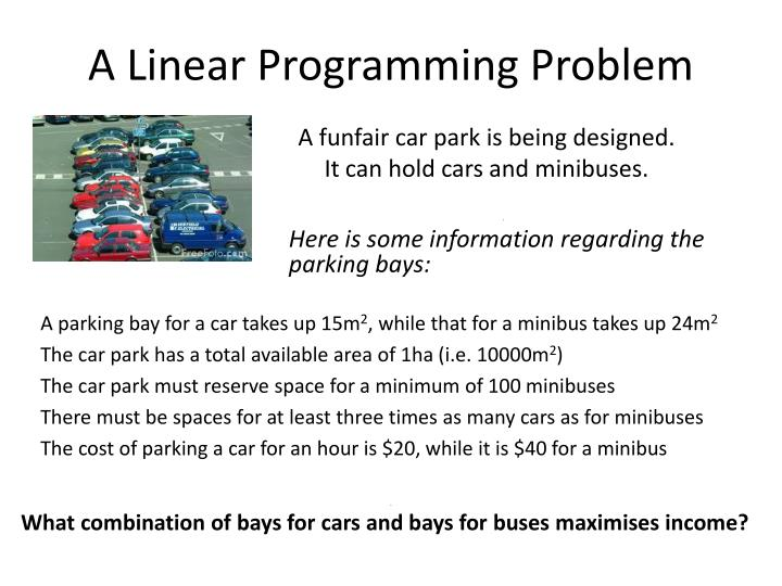essay on linear programming Chapter 8 linear programming applications formulate this as a linear programming problem carefully define all decision.