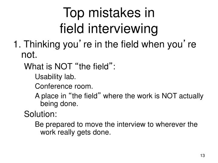 Top mistakes in