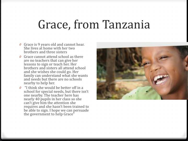 Grace, from Tanzania