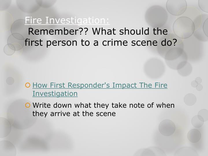 Fire Investigation: