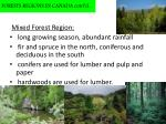 forests regions in canada cont d