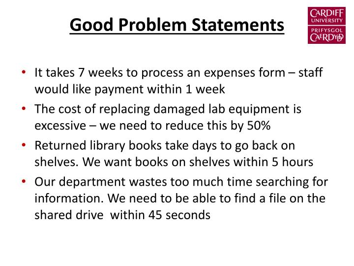 Good Problem Statements
