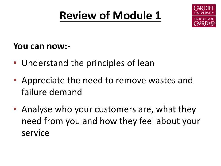 Review of Module 1